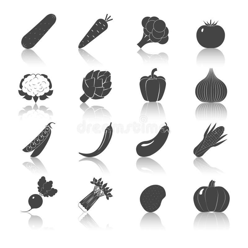 Geplaatste groenten Zwarte Pictogrammen royalty-vrije illustratie