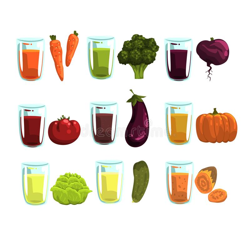 Geplaatste groentesappen, wortel, broccoli, aubergine, courgette, tomaten, komkommer, bieten en pompoendranken voor a vector illustratie