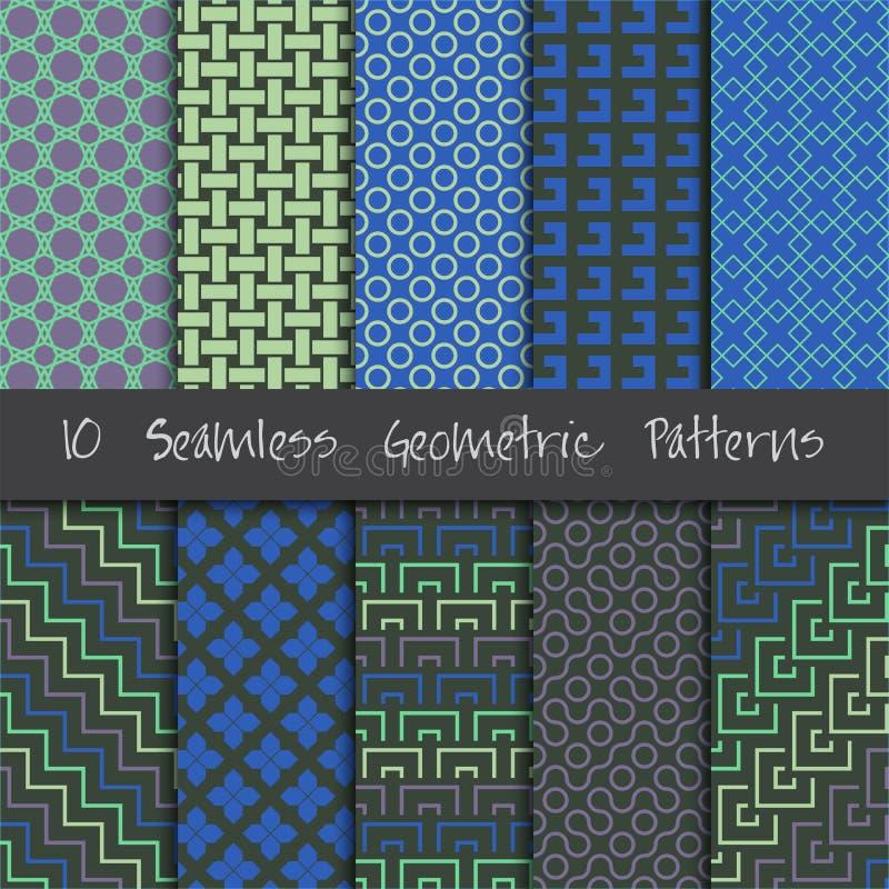 Geplaatste Grunge Naadloze Geometrische Patronen royalty-vrije illustratie