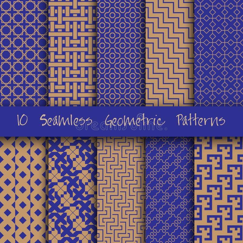 Geplaatste Grunge Naadloze Geometrische Patronen vector illustratie