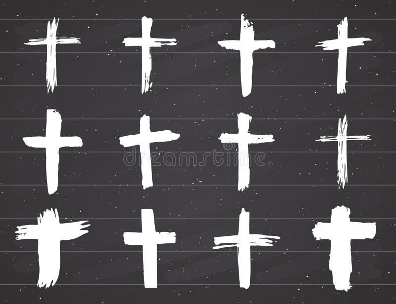 Geplaatste Grungehand getrokken dwarssymbolen Christelijke kruisen, godsdienstige tekenspictogrammen, de vectorillustratie van he stock illustratie