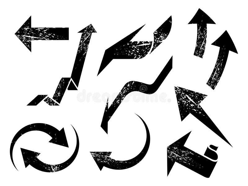 Geplaatste Grungepijlen vector illustratie