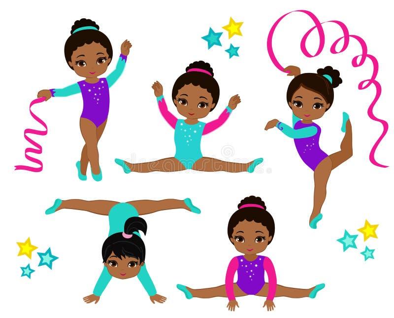 Geplaatste gymnastiek leuke multiculturele meisjes royalty-vrije illustratie