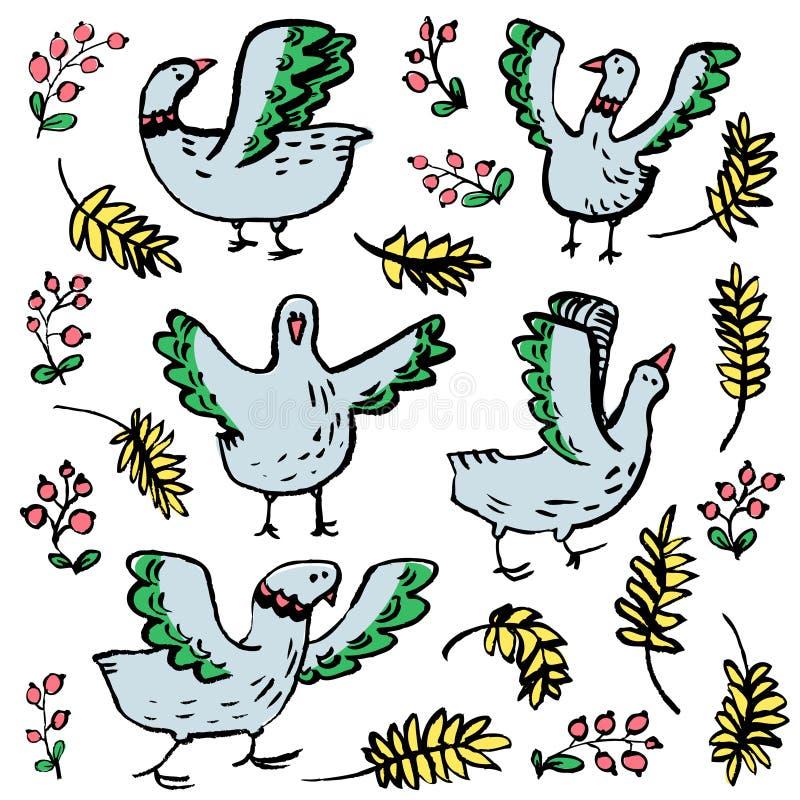 Geplaatste hand darwn vogels De huisdieren van het krabbelvee met tarwe en berri vector illustratie