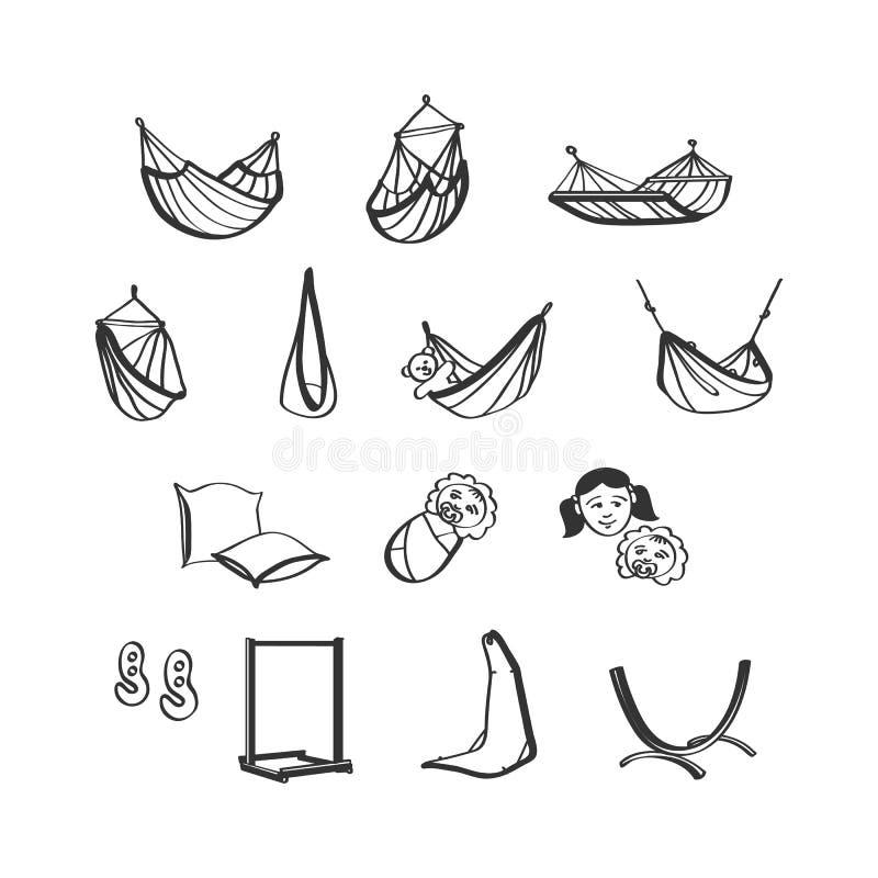 Geplaatste hangmattenpictogrammen stock illustratie