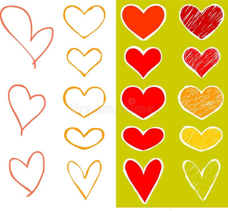 Geplaatste harten vector illustratie