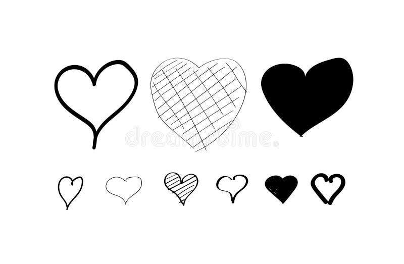 Geplaatste harthand getrokken pictogrammen Geïsoleerdj op witte achtergrond Harten voor website, affiche, behang en de dag van Va stock illustratie