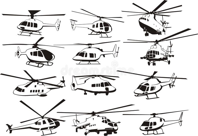 Geplaatste helikopters royalty-vrije illustratie