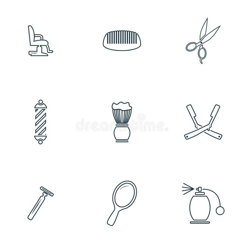Geplaatste herenkapperpictogrammen Het pictogram van de SCHUIMborstel, spiegelpictogram, schaarpictogram, kapperstoel en meer Het vector illustratie