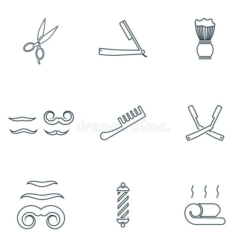 Geplaatste herenkapperpictogrammen Recht scheermes, kampictogram, snorpictogram, handdoekpictogram en meer Het Symboolinzameling  vector illustratie