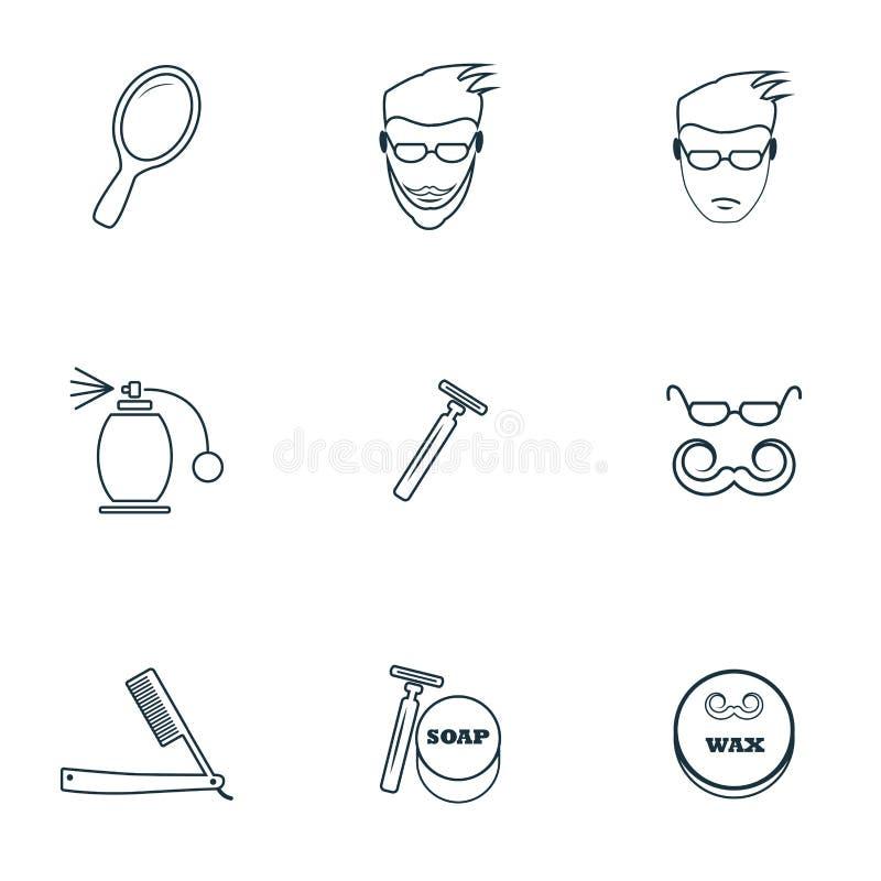 Geplaatste herenkapperpictogrammen Scheermes met een bladpictogram, nevelpictogram, een mens met een baardpictogram en meer Het s royalty-vrije illustratie