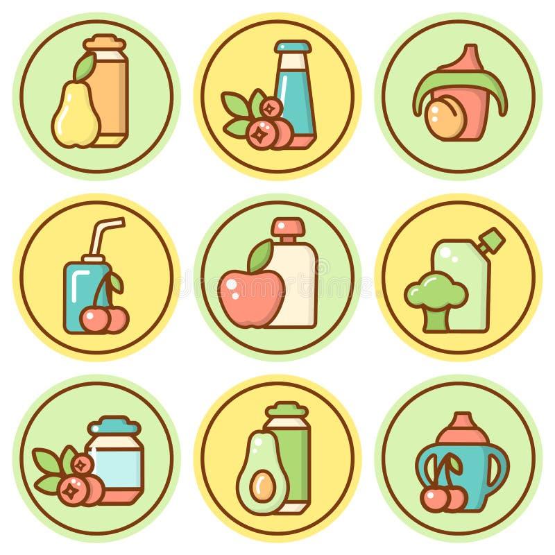 Geplaatste het beeldverhaalpictogrammen van het babyvoedsel vector illustratie
