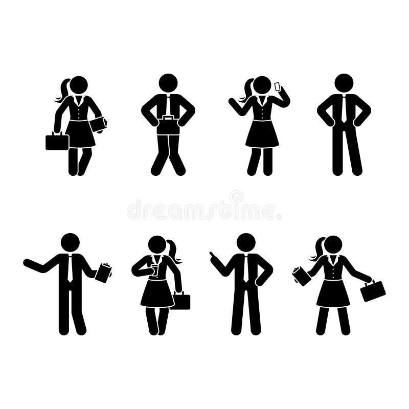 Geplaatste het bureaumannen en vrouwen van het stokcijfer Vectorillustratie van bedrijfsmensen op wit vector illustratie