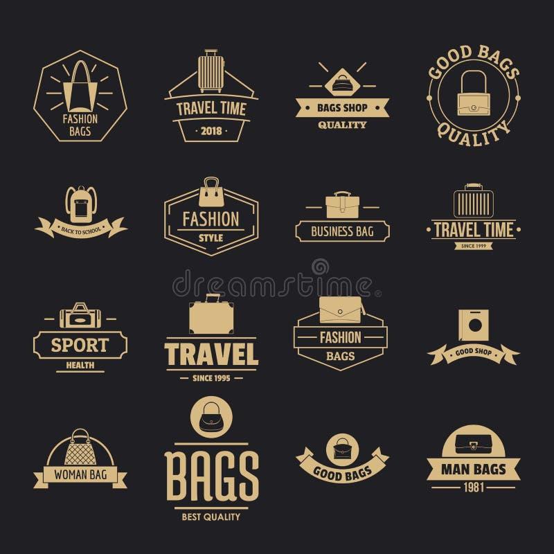 Geplaatste het embleempictogrammen van de reisbagage, eenvoudige stijl royalty-vrije illustratie