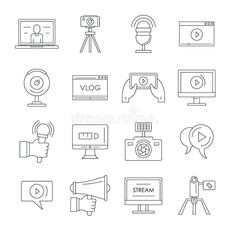 Geplaatste het embleempictogrammen van het Vlog schetsen de videokanaal, stijl royalty-vrije illustratie