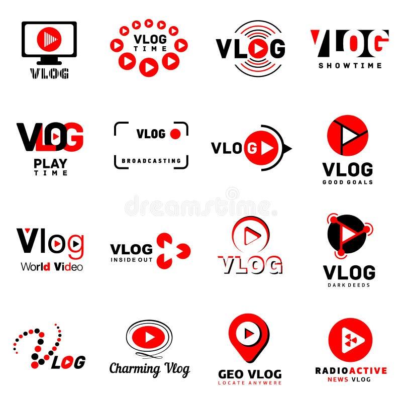 Geplaatste het embleempictogrammen van het Vlog videokanaal, eenvoudige stijl stock illustratie