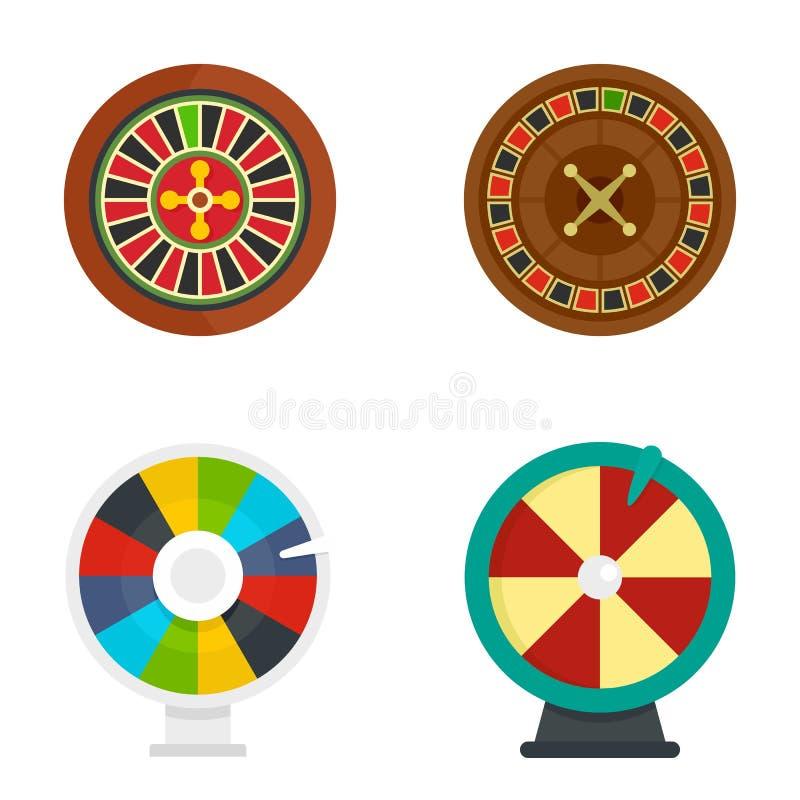Geplaatste het fortuinpictogrammen van het roulettewiel, vlakke stijl vector illustratie