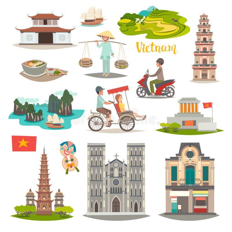 Geplaatste het oriëntatiepunt vectorpictogrammen van Vietnam Geïllustreerde reisinzameling over Vietnam vector illustratie