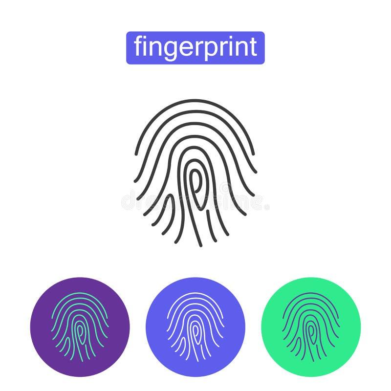 Geplaatste het overzichtspictogrammen van de vingerafdruktoegang royalty-vrije illustratie