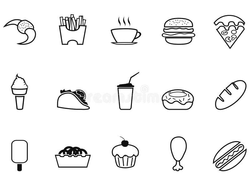 Geplaatste het overzichtspictogrammen van het ongezonde kost snelle voedsel stock illustratie