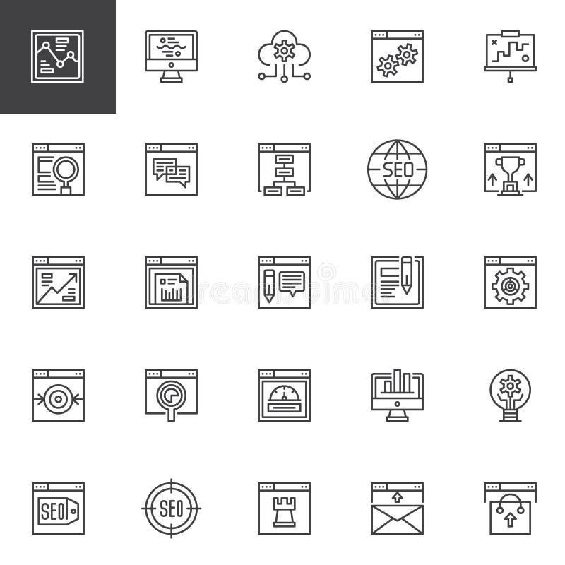 Geplaatste het overzichtspictogrammen van SEO en online marketing vector illustratie