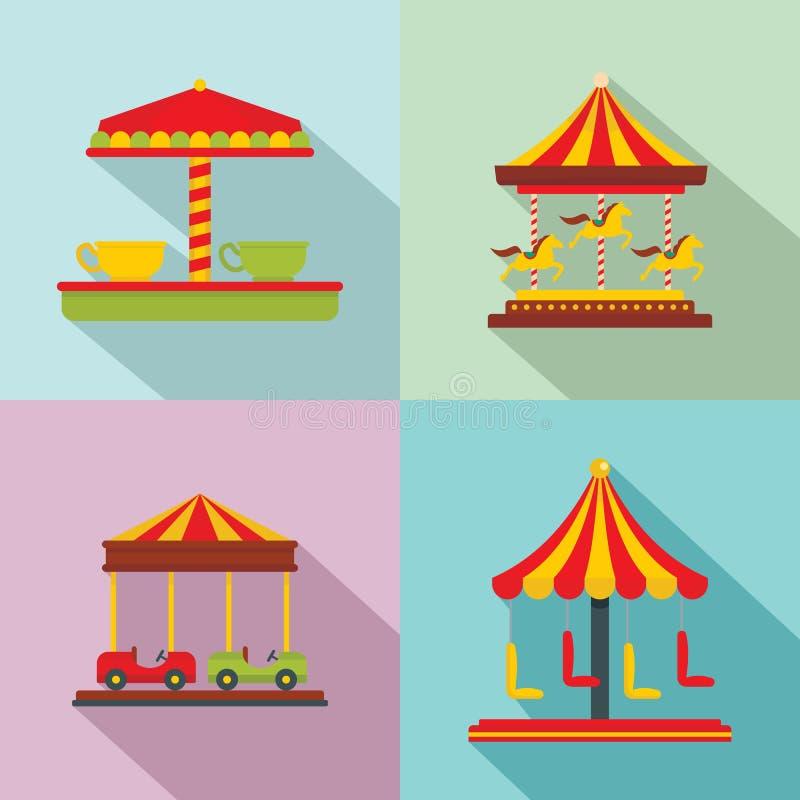 Geplaatste het paardpictogrammen van carrouselcarnaval, vlakke stijl royalty-vrije illustratie