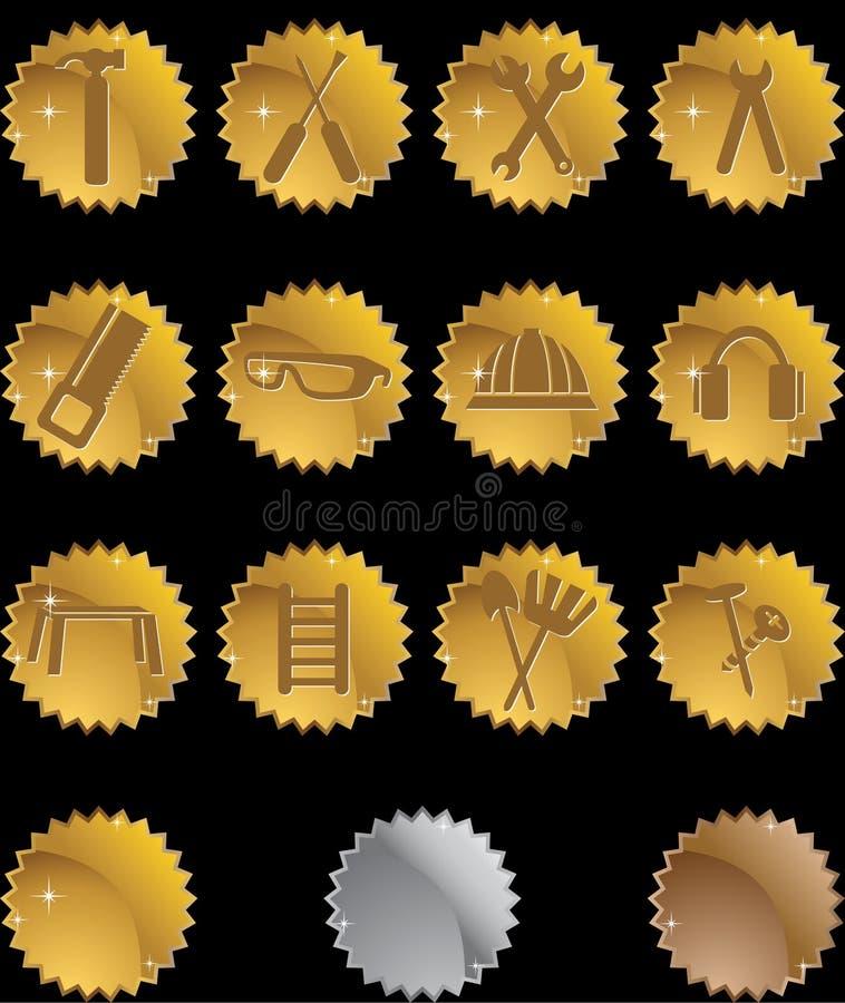 Geplaatste het Pictogram van de hardware: De Reeks van de Knoop van de verbinding - Goud royalty-vrije illustratie
