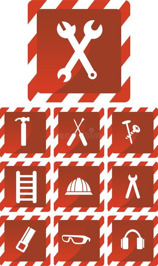 Geplaatste het Pictogram van de hardware: Rode Reeks stock illustratie