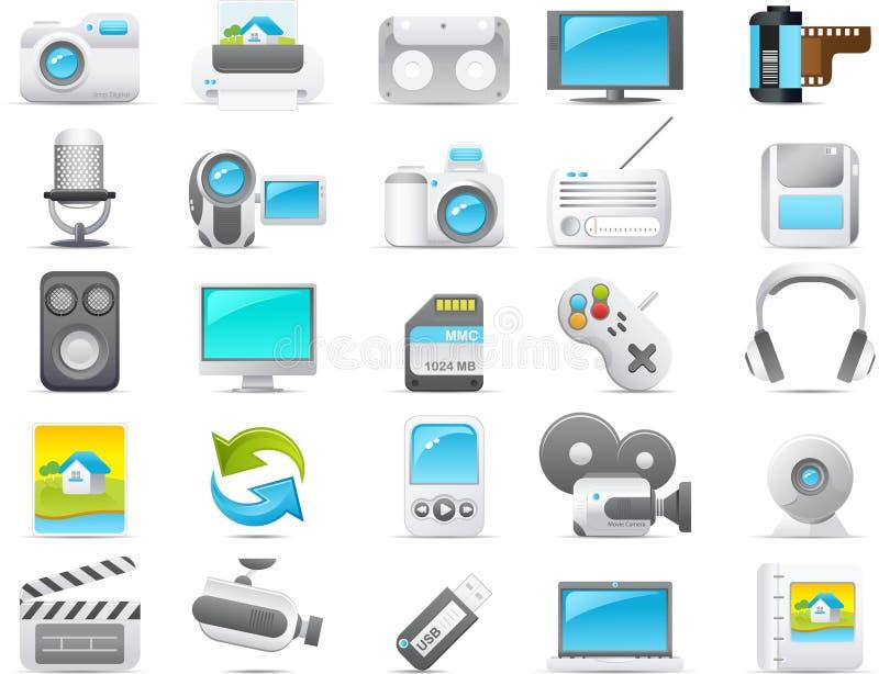 Geplaatste het pictogram van Nouve: Media en Elektronika vector illustratie
