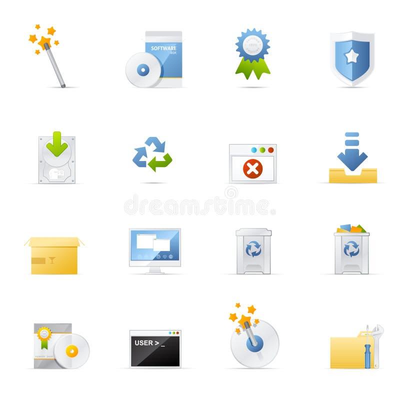 Geplaatste het pictogram van Vecto - Software en Toepassing royalty-vrije illustratie