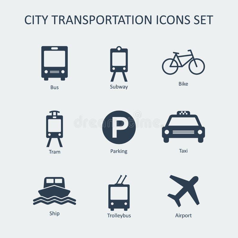 Geplaatste het silhouet vectorpictogrammen van het stadsvervoer vector illustratie