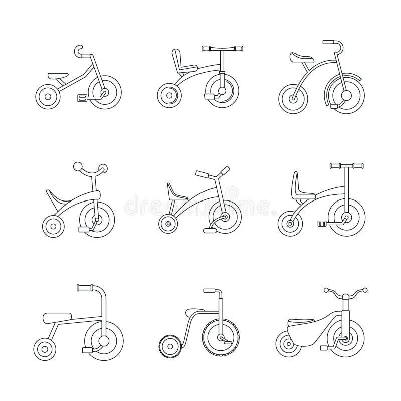 Geplaatste het wiel de pictogrammen met drie wielen van de fietsfiets, schetsen stijl vector illustratie