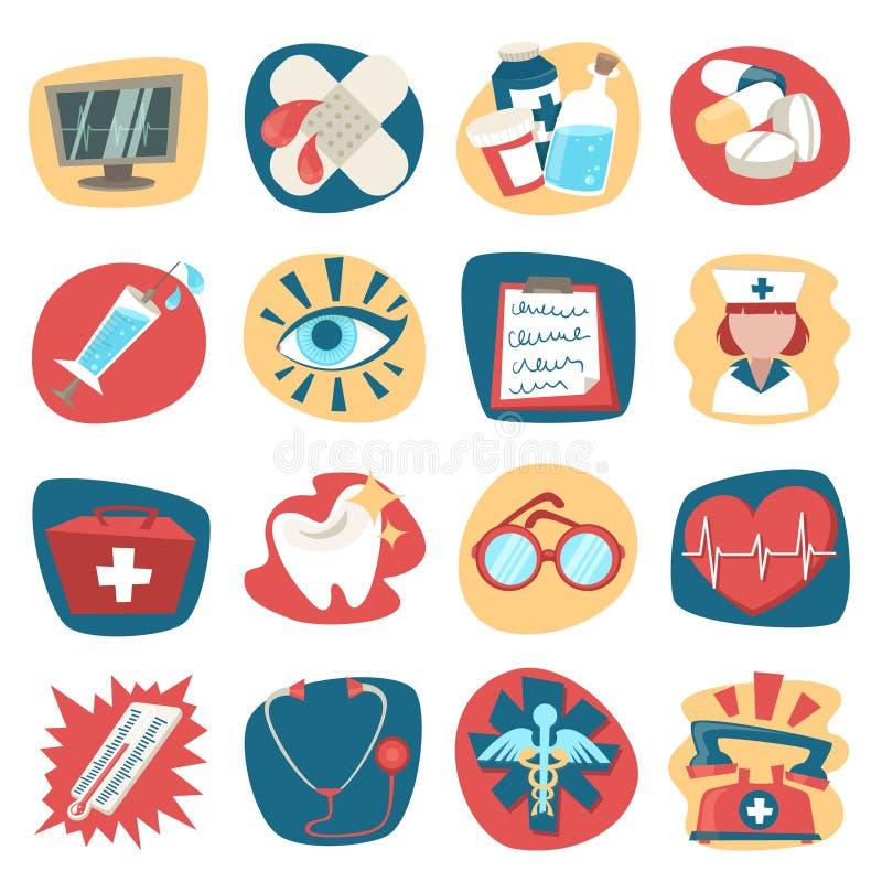 Geplaatste het ziekenhuispictogrammen vector illustratie