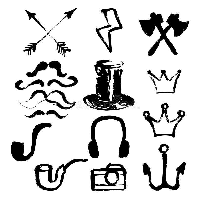 Geplaatste Hipstersymbolen stock illustratie