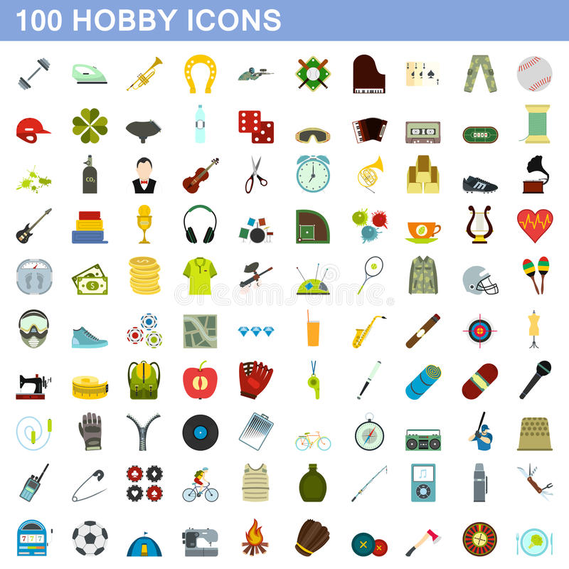 100 geplaatste hobbypictogrammen, vlakke stijl stock illustratie