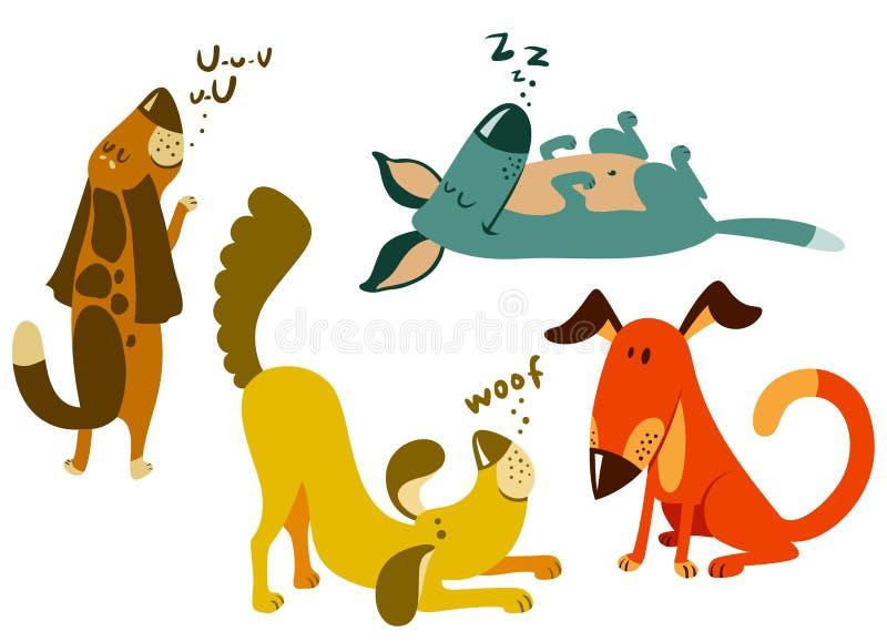 Geplaatste honden stock illustratie