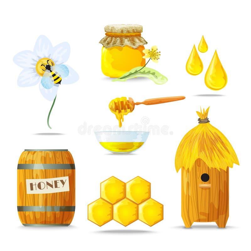 Geplaatste honingspictogrammen vector illustratie