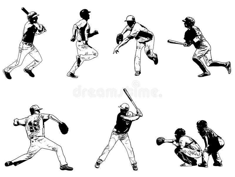 Geplaatste honkbalspelers - schetsillustratie vector illustratie
