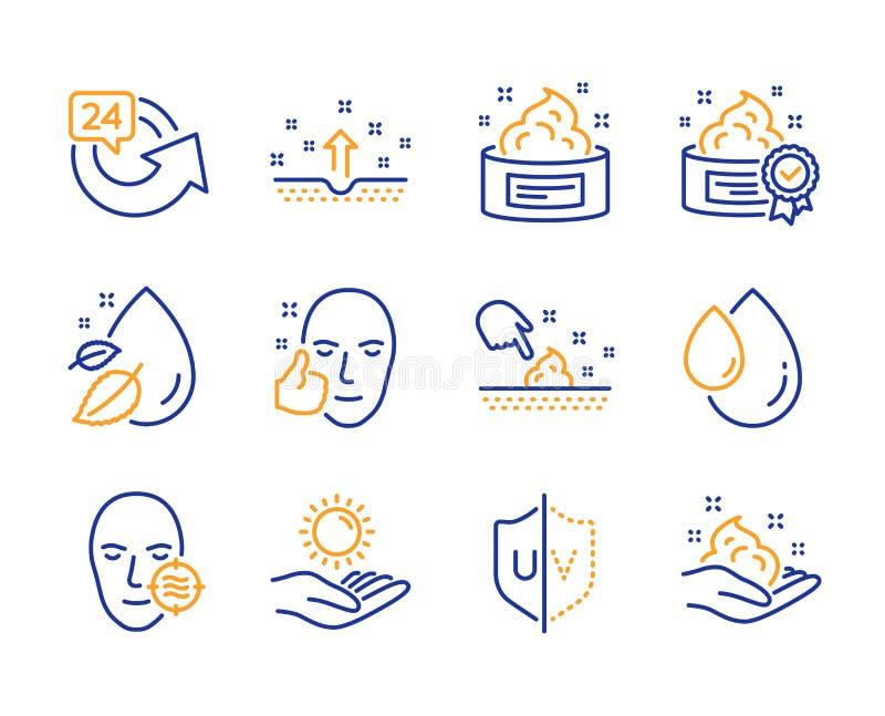 Geplaatste huidvochtigheid, Zonbescherming en 24 urenpictogrammen Probleemhuid, Gezond gezicht en Uvbeschermingstekens Vector stock illustratie