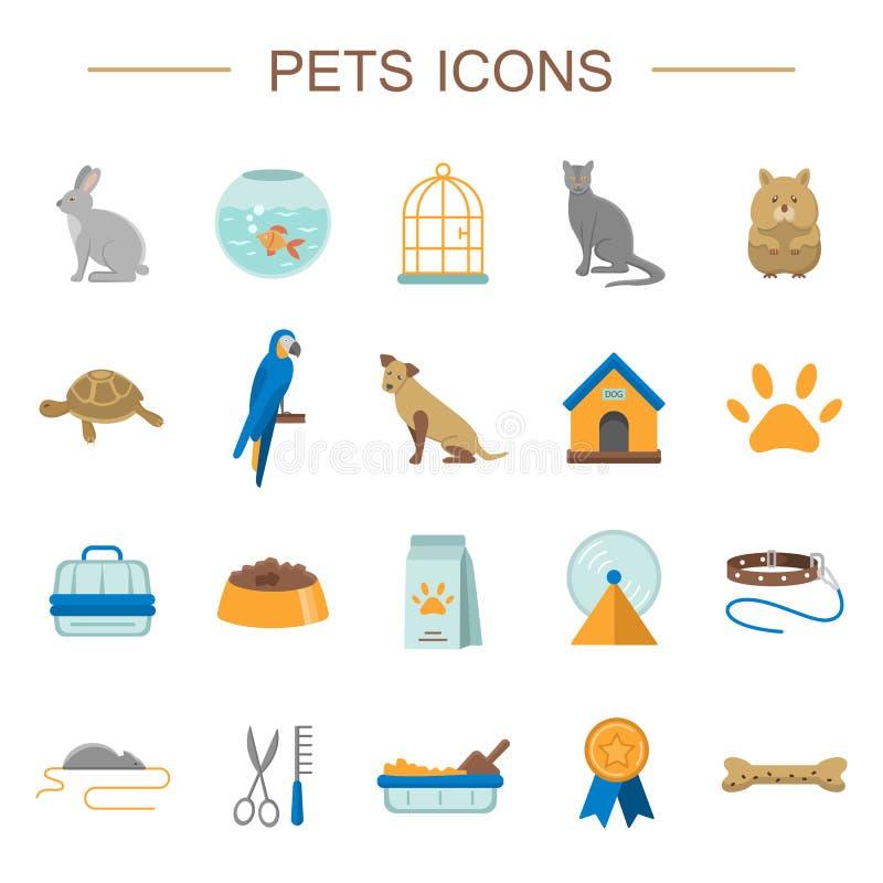 Geplaatste huisdieren vlakke pictogrammen stock illustratie