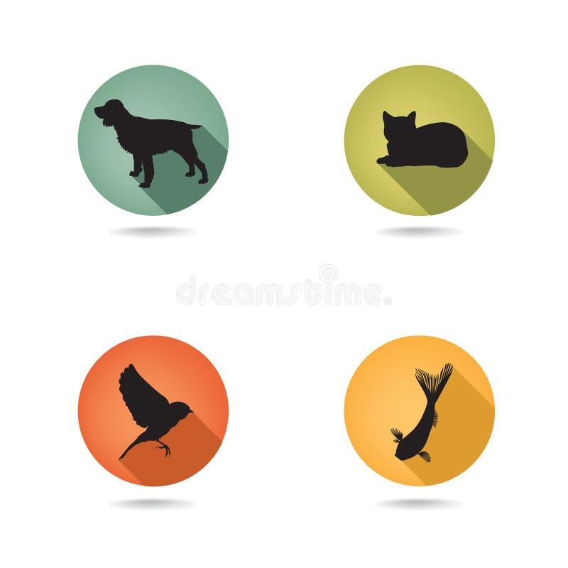 Geplaatste huisdierenpictogrammen Dierenartssymbolen Inzameling van huisdierenpictogram silh vector illustratie