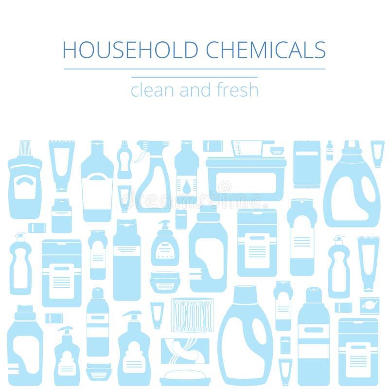 Geplaatste huishouden schoonmakende levering geïsoleerde pictogrammen Grafisch concept voor websites, banner, mobiele apps, infog royalty-vrije illustratie