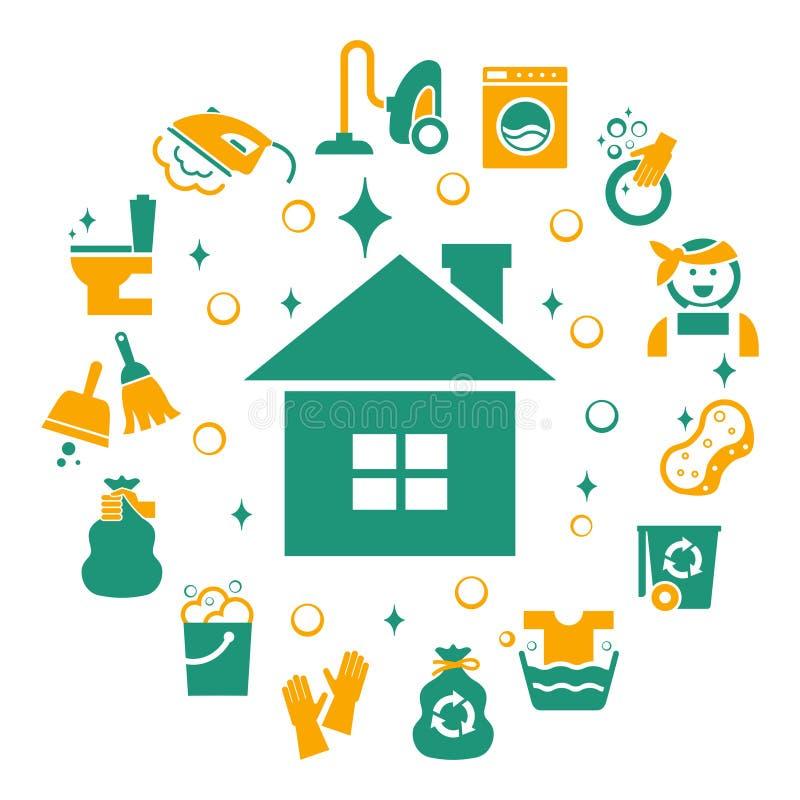 Geplaatste huishouden schoonmakende pictogrammen vector illustratie