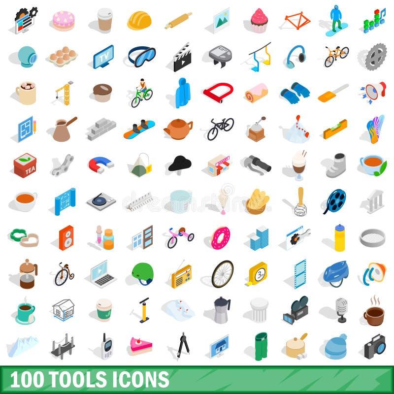 100 geplaatste hulpmiddelenpictogrammen, isometrische 3d stijl vector illustratie
