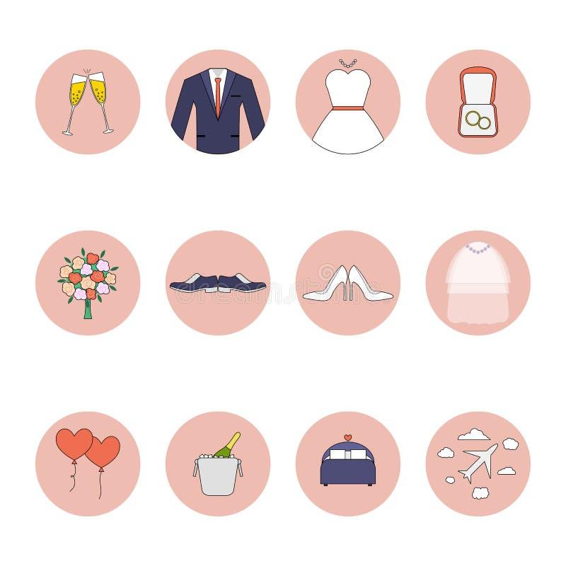Geplaatste huwelijks vector vlakke pictogrammen Eps 10 stock foto's