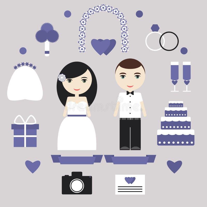 Geplaatste huwelijkselementen vector illustratie