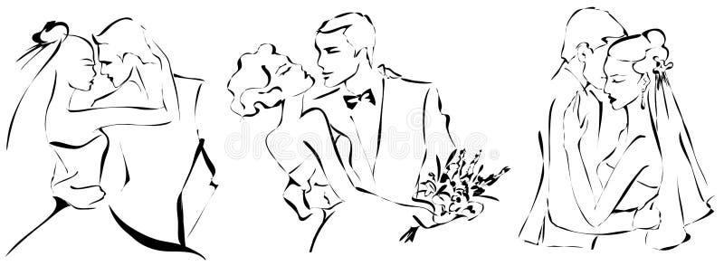 Geplaatste huwelijksparen, gelukkige bruid en bruidegom, zwart-wit silhouet, royalty-vrije illustratie