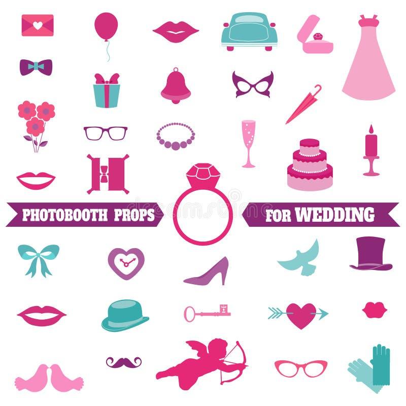 Geplaatste huwelijkspartij - Photobooth-Steunen stock illustratie