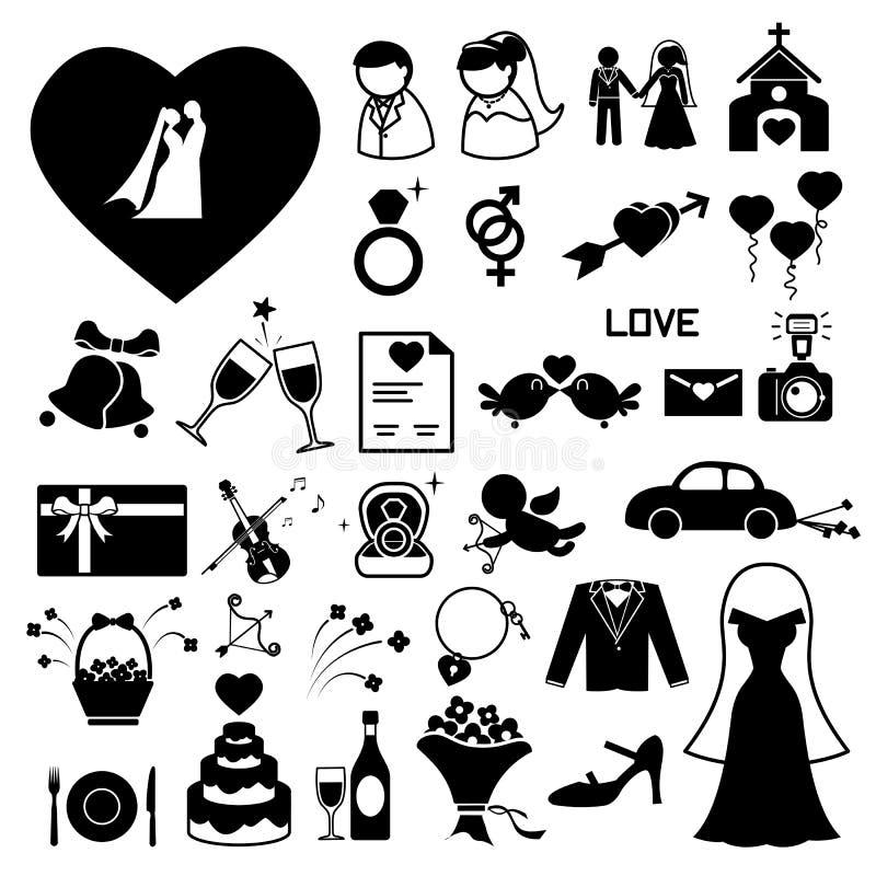 Geplaatste huwelijkspictogrammen royalty-vrije illustratie