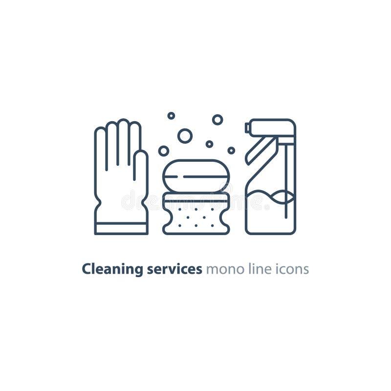 Geplaatste hygiënevoorwerpen, schoonmakende materiaalpunten en de diensten, lijnpictogrammen stock illustratie